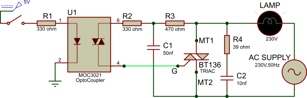 Triac BT136 as a Switch