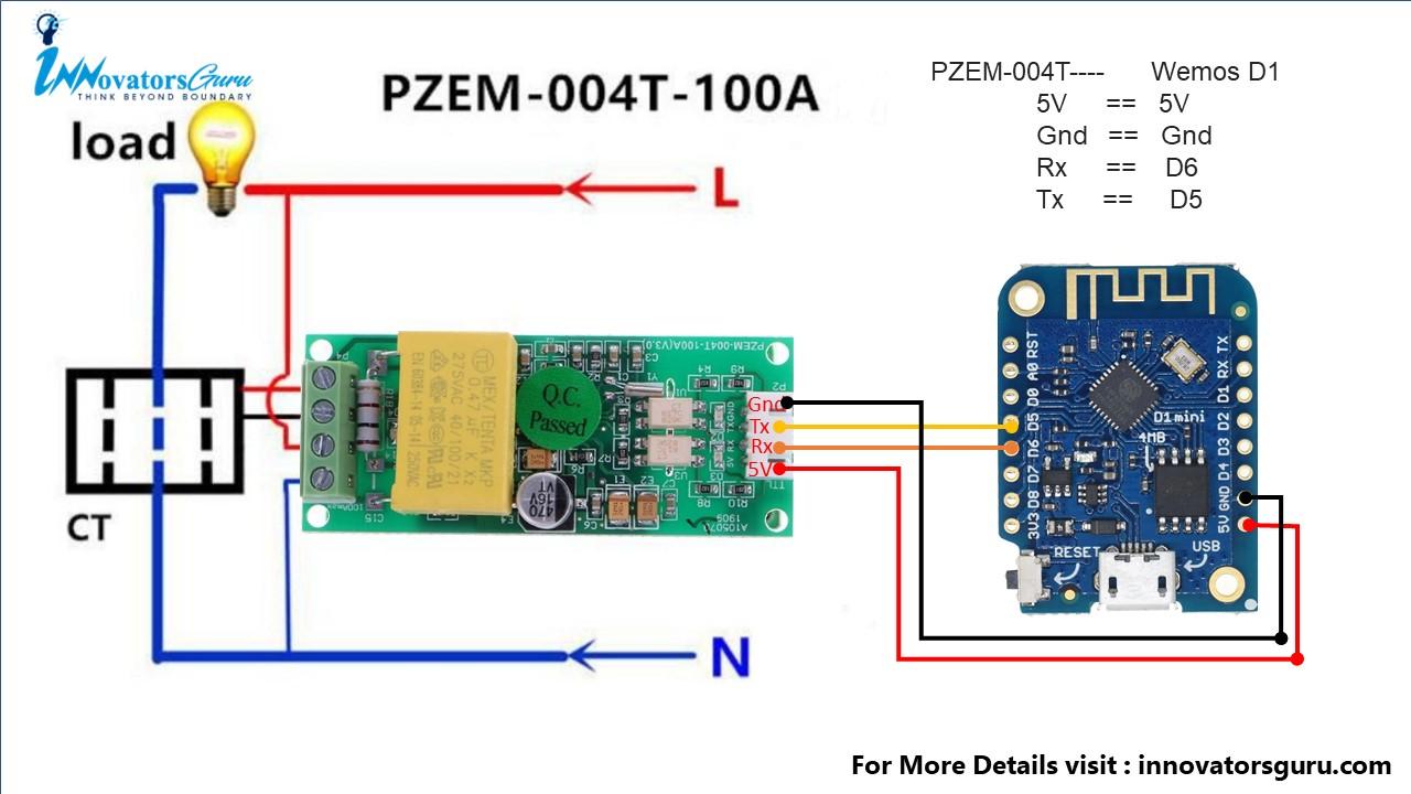 PZEM-004T nodemcu esp8266 connection wiring diagram
