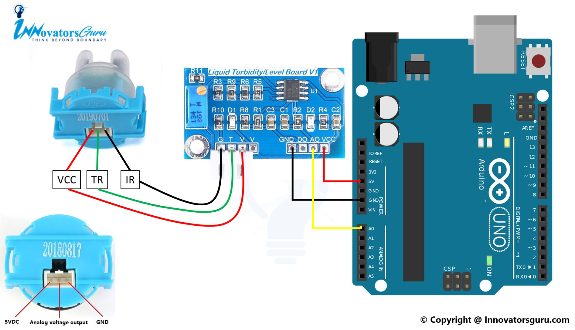 TS-300B Arduino Turbidity Sensor connection pinout circuit schematic